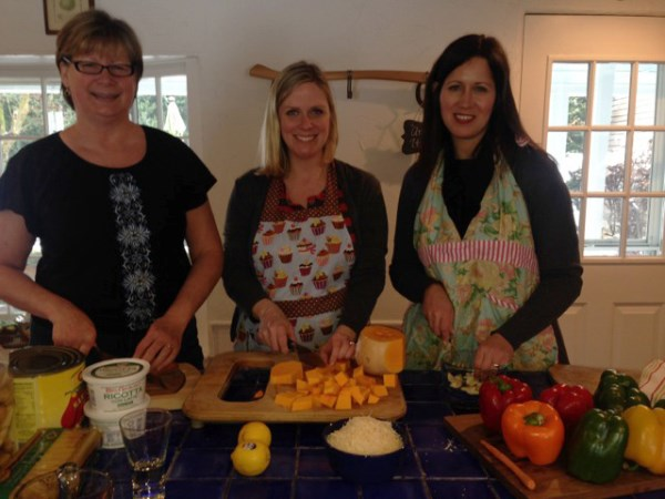 Linda,  Holly and Cara form a cooking trio