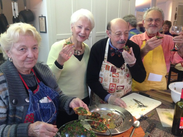 Mary, Carol Lynn, Deno and Bill enjoy our bruschetta