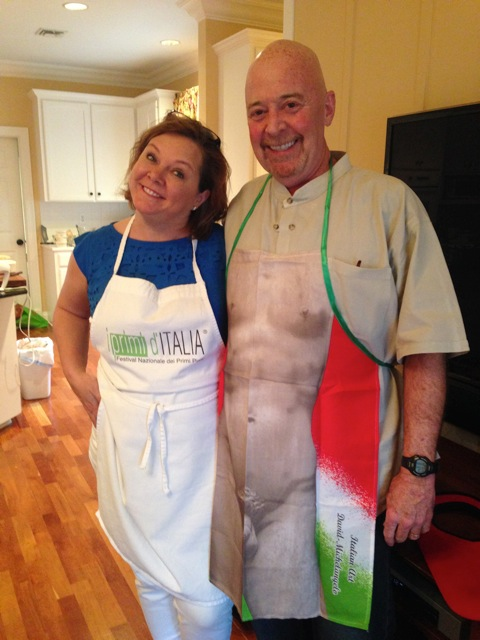 Michelle and Sam, in their Italian aprons and ready to cook