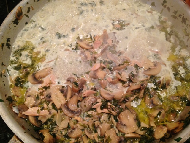 Tuna/brandy/cream/mushroom pate' in-the-making