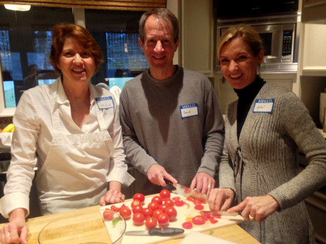 Sandra joins David and Julie as they slice tomatoes