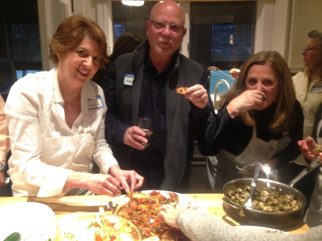 Hostesses Sandra and Rebecca join with Marc in sharing the bruschetta goodness