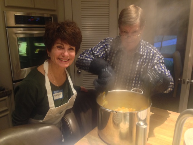 Sharon and Erik, lost in the steaming pasta mist