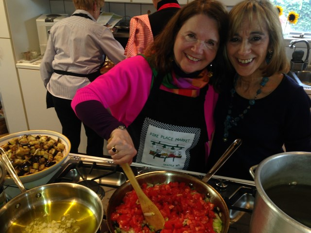 Bobbie with hostess, Paulette - a cooking duo