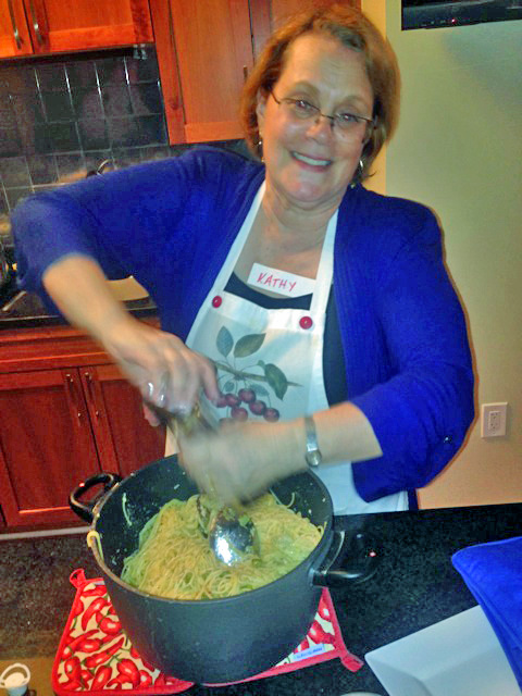Kathy serves up our creamy asparagus pasta