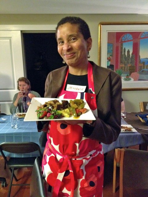 Stephanie with our delicious - and colorful! - antipasti