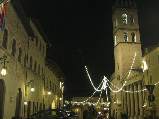 Assisi's main square with Christmas lights