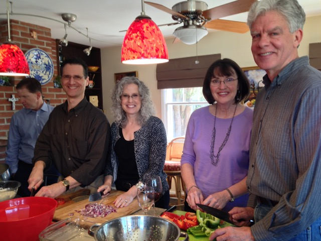 Mark and Carolyn join Marci and Mitch at the cutting boards