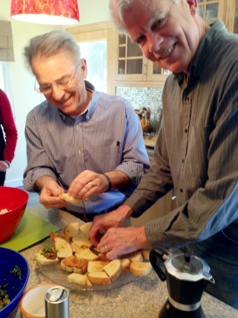 Bill and Mark team on the bruschetta