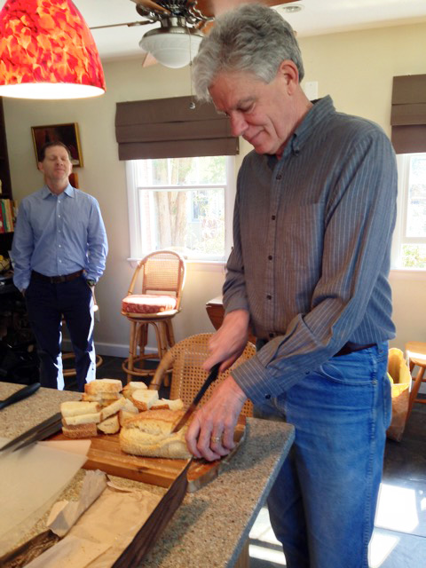 Mark slices up the bread