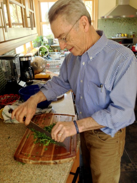 Bill handles the arugula