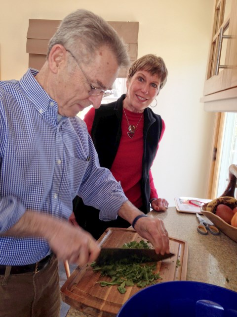 Bill and Jeanne at the cutting board