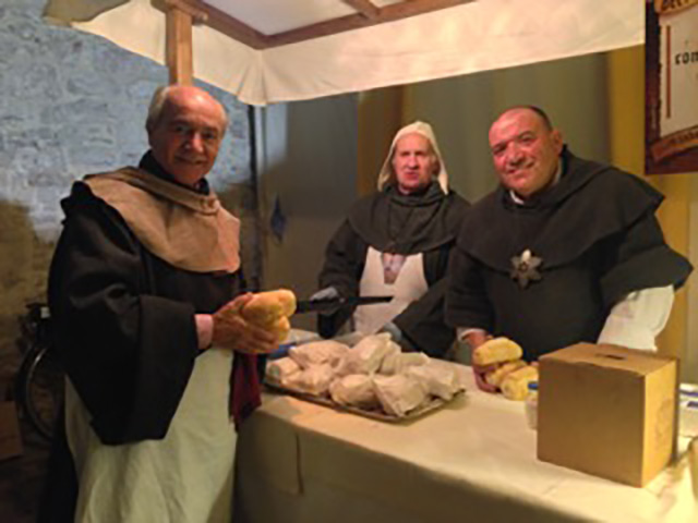 Porchetta sandwiches for sale in the medieval taverna