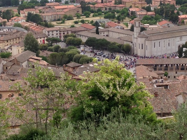 View of Gubbio from up near the Basilica