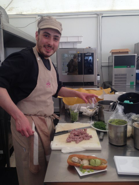 Damiano at work on the mousse