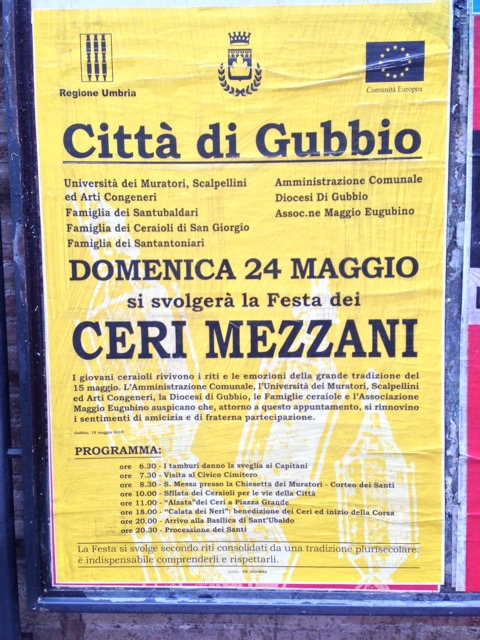 A poster announces the Ceri Mezzani  events
