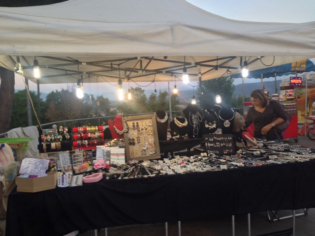 Stand of glittery bijoux at sagra entrance