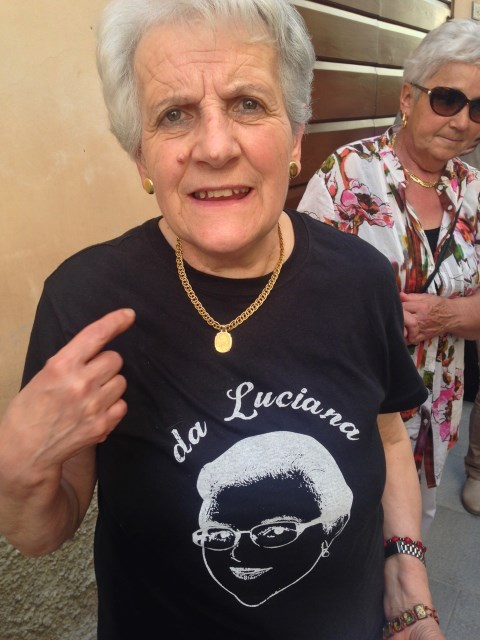 """Giuseppe's group is called """"Pochi ma buoni"""" and shirts have his wife Luciana on the front"""
