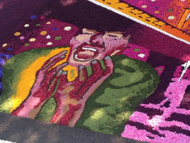 Detail of the floral masterpiece denouncing violence against women