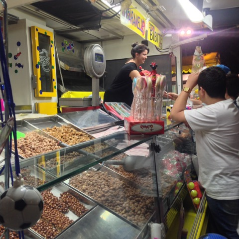 At sagras, there's always a stand with sweets and nuts