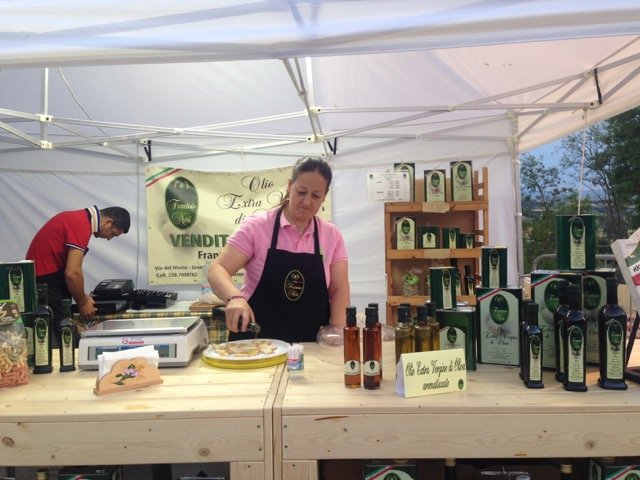 At this stand, visitors can sample local olive oils