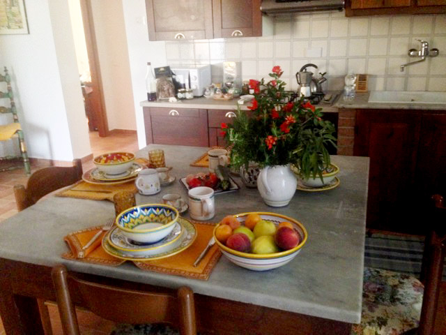 Our fruit, eggs, salads, herbs welcome each guest
