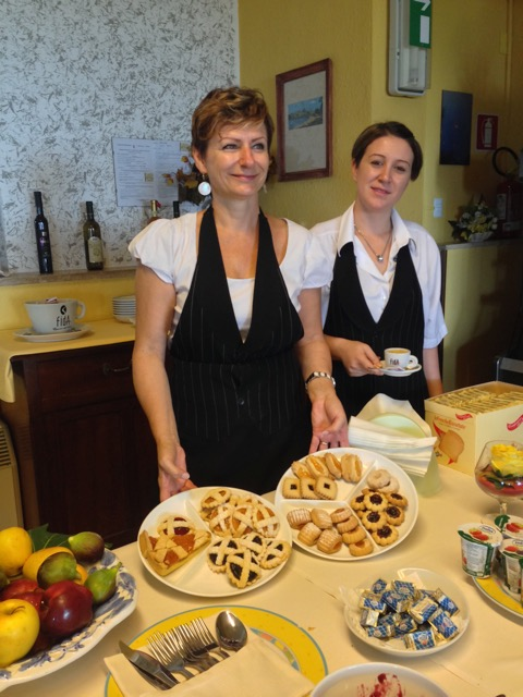 Bozena and Livia at the breakfast buffet