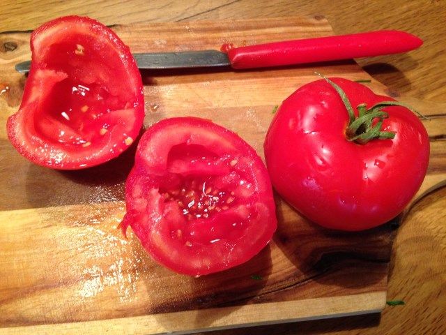 Add finely-diced ripe tomatoes, seeds eliminated