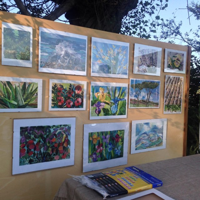 The paintings of a local artist on the flower theme