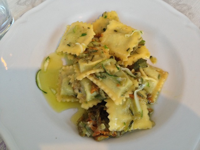One order the ravioli with borage and zucchini topping