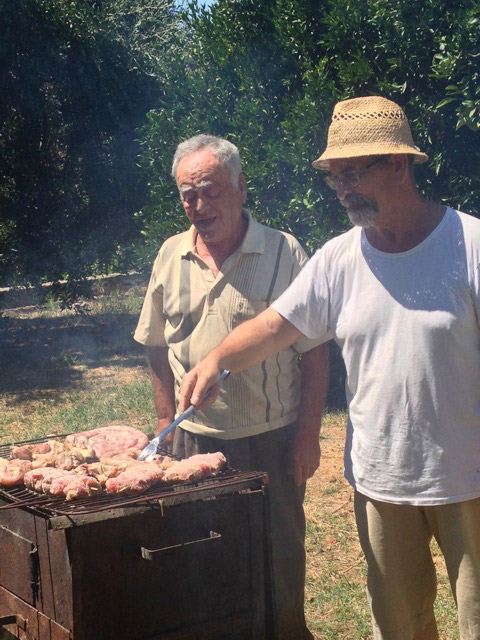 Nino and Zio Totò at the grill
