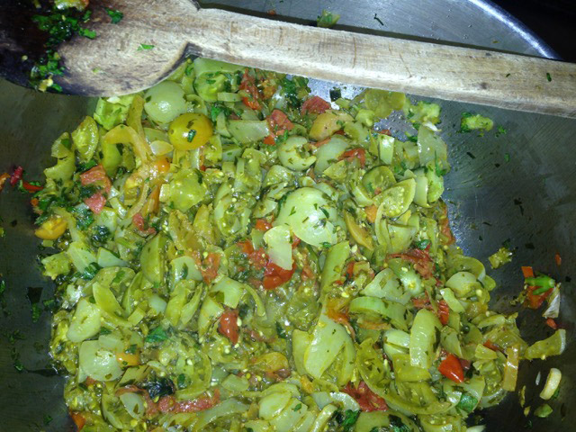Add diced green tomatoes