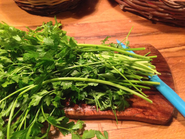 Wash generous bunch of parsley and chop, using stems, too