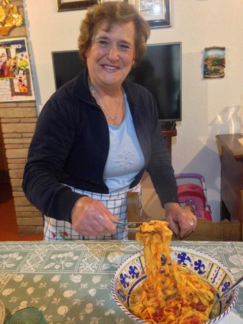 """Homemade tagliatelle coming up - and meat sauce from our calves!"""