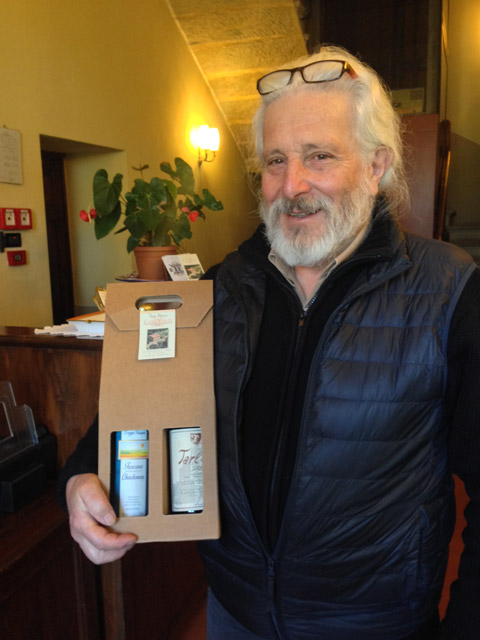 Pino with Alessia's gift of their family wines