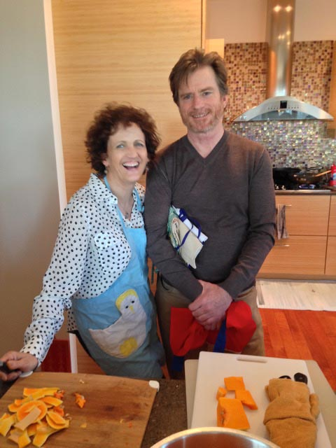Bill and Lisa C prepare the squash for our pasta