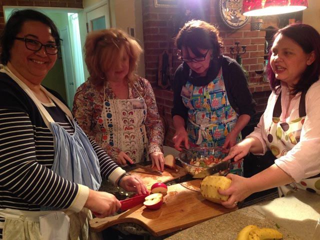 Jenny joins Julie, Barb and Debbie on the apple prep