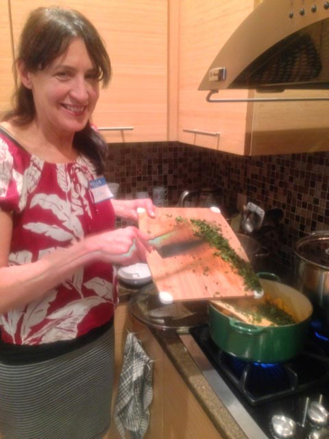Lisa R adds parsley to our mushrooms
