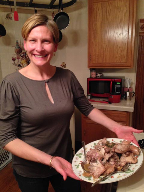 Alison about to serve up our chicken dish