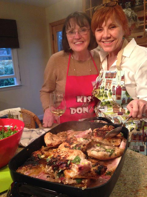 Carolyn and Leslie, cooking duo
