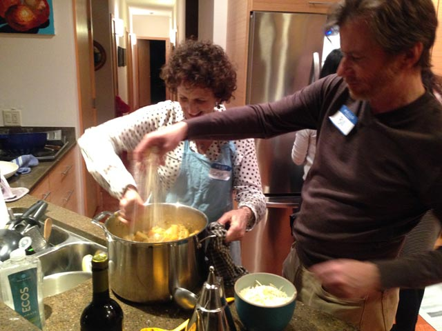 Bill adds a generous amount of Parmesan to our pasta