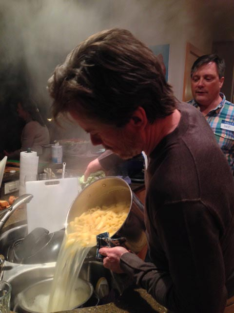 Bill drains our pasta
