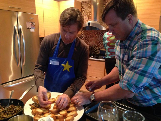 My brother Bill and Jack on the bruschetta
