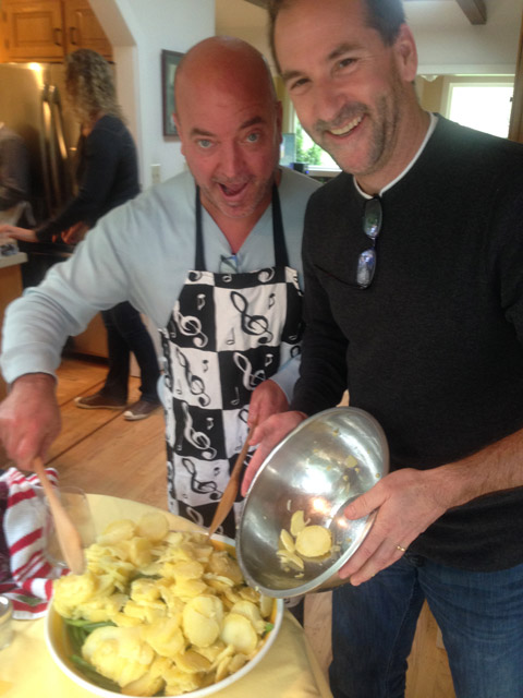 Gary and Mike on the Sicilian potatoes/beans antipasto dish