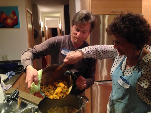 Bill and Lisa C serve up the pasta