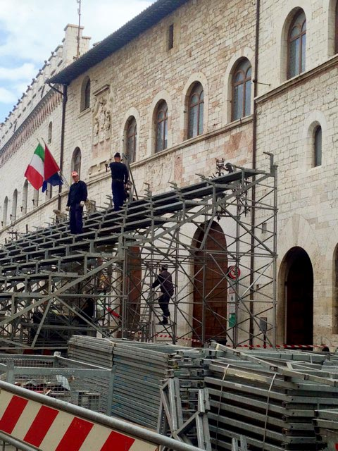 Grandstands going up these days in Assisi