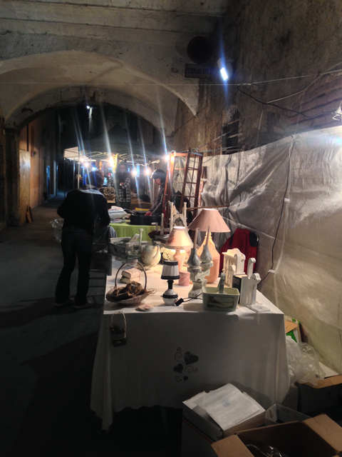 The alleyways are lined with booths selling artisan crafts
