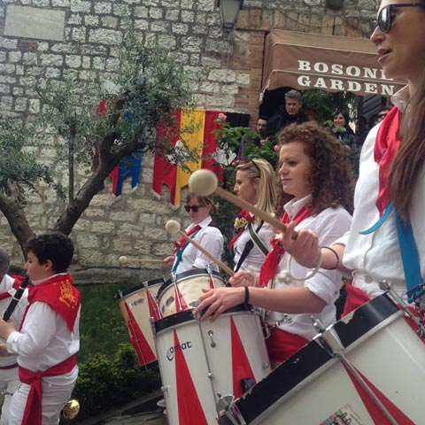 All day, bands play throughout Gubbio and the locals  join in jubilant dances