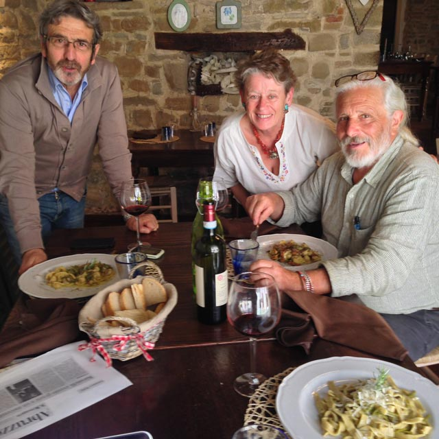 Ugo - from Valtopina - joined us for lunch at La Gabella