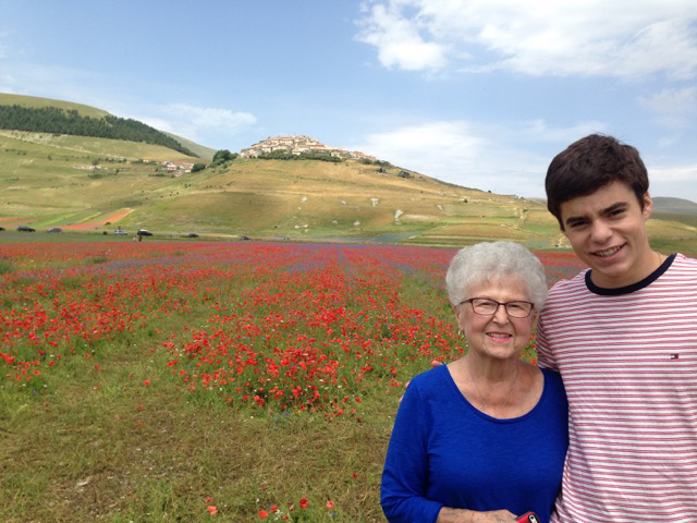 Vivian and grandson, Brady, take in the Castelluccio splendor
